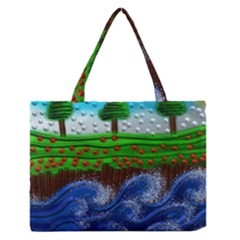 Beaded Landscape Textured Abstract Landscape With Sea Waves In The Foreground And Trees In The Background Medium Zipper Tote Bag