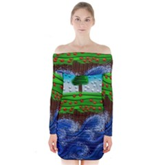 Beaded Landscape Textured Abstract Landscape With Sea Waves In The Foreground And Trees In The Background Long Sleeve Off Shoulder Dress