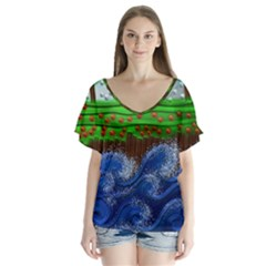 Beaded Landscape Textured Abstract Landscape With Sea Waves In The Foreground And Trees In The Background Flutter Sleeve Top