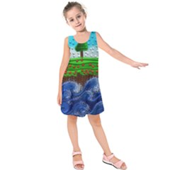 Beaded Landscape Textured Abstract Landscape With Sea Waves In The Foreground And Trees In The Background Kids  Sleeveless Dress
