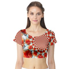 Stylish Background With Flowers Short Sleeve Crop Top (Tight Fit)
