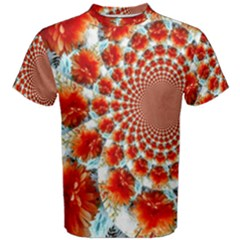 Stylish Background With Flowers Men s Cotton Tee