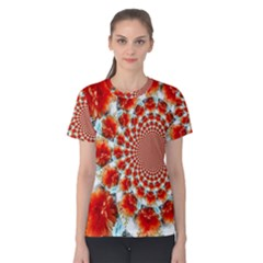 Stylish Background With Flowers Women s Cotton Tee