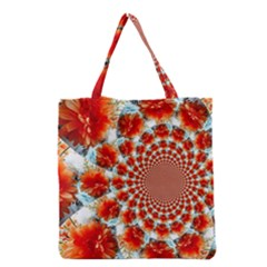 Stylish Background With Flowers Grocery Tote Bag