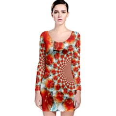 Stylish Background With Flowers Long Sleeve Bodycon Dress