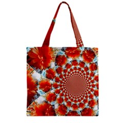 Stylish Background With Flowers Zipper Grocery Tote Bag