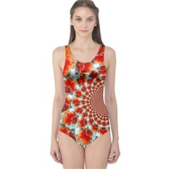 Stylish Background With Flowers One Piece Swimsuit