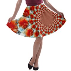 Stylish Background With Flowers A Line Skater Skirt