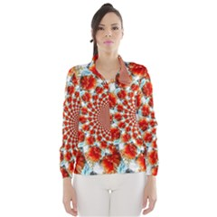 Stylish Background With Flowers Wind Breaker (women)