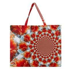 Stylish Background With Flowers Zipper Large Tote Bag