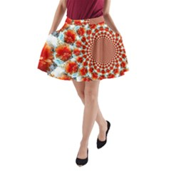 Stylish Background With Flowers A Line Pocket Skirt