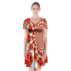 Stylish Background With Flowers Short Sleeve V Neck Flare Dress