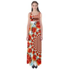 Stylish Background With Flowers Empire Waist Maxi Dress