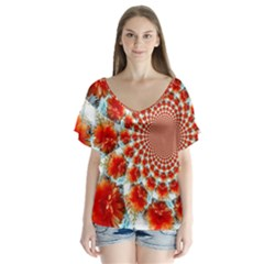 Stylish Background With Flowers Flutter Sleeve Top