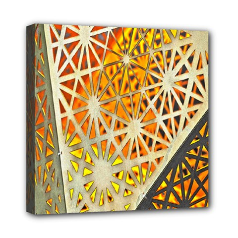 Abstract Starburst Background Wallpaper Of Metal Starburst Decoration With Orange And Yellow Back Mini Canvas 8  x 8