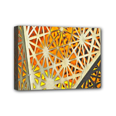 Abstract Starburst Background Wallpaper Of Metal Starburst Decoration With Orange And Yellow Back Mini Canvas 7  x 5