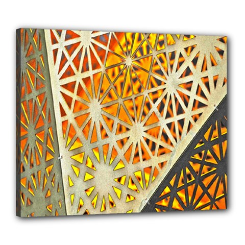 Abstract Starburst Background Wallpaper Of Metal Starburst Decoration With Orange And Yellow Back Canvas 24  x 20