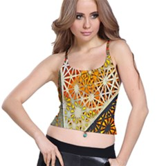 Abstract Starburst Background Wallpaper Of Metal Starburst Decoration With Orange And Yellow Back Spaghetti Strap Bra Top