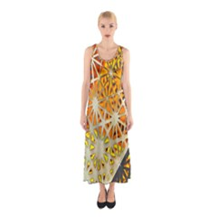 Abstract Starburst Background Wallpaper Of Metal Starburst Decoration With Orange And Yellow Back Sleeveless Maxi Dress