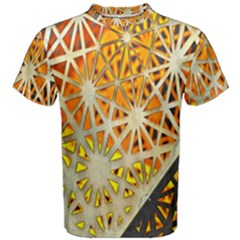 Abstract Starburst Background Wallpaper Of Metal Starburst Decoration With Orange And Yellow Back Men s Cotton Tee