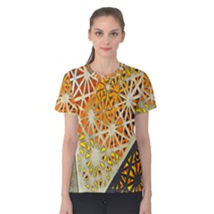 Abstract Starburst Background Wallpaper Of Metal Starburst Decoration With Orange And Yellow Back Women s Cotton Tee