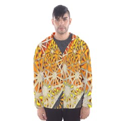 Abstract Starburst Background Wallpaper Of Metal Starburst Decoration With Orange And Yellow Back Hooded Wind Breaker (Men)