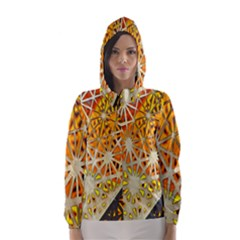Abstract Starburst Background Wallpaper Of Metal Starburst Decoration With Orange And Yellow Back Hooded Wind Breaker (women)