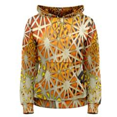 Abstract Starburst Background Wallpaper Of Metal Starburst Decoration With Orange And Yellow Back Women s Pullover Hoodie