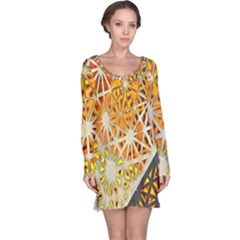 Abstract Starburst Background Wallpaper Of Metal Starburst Decoration With Orange And Yellow Back Long Sleeve Nightdress
