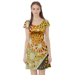 Abstract Starburst Background Wallpaper Of Metal Starburst Decoration With Orange And Yellow Back Short Sleeve Skater Dress