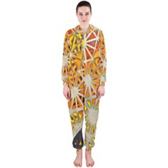 Abstract Starburst Background Wallpaper Of Metal Starburst Decoration With Orange And Yellow Back Hooded Jumpsuit (Ladies)