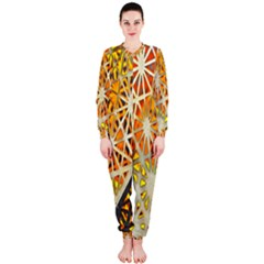 Abstract Starburst Background Wallpaper Of Metal Starburst Decoration With Orange And Yellow Back Onepiece Jumpsuit (ladies)