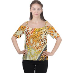 Abstract Starburst Background Wallpaper Of Metal Starburst Decoration With Orange And Yellow Back Women s Cutout Shoulder Tee