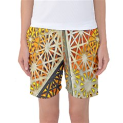Abstract Starburst Background Wallpaper Of Metal Starburst Decoration With Orange And Yellow Back Women s Basketball Shorts
