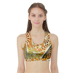 Abstract Starburst Background Wallpaper Of Metal Starburst Decoration With Orange And Yellow Back Sports Bra With Border