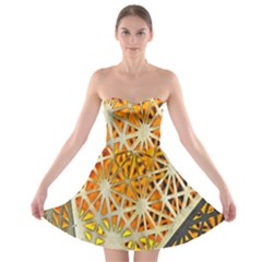 Abstract Starburst Background Wallpaper Of Metal Starburst Decoration With Orange And Yellow Back Strapless Bra Top Dress