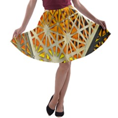 Abstract Starburst Background Wallpaper Of Metal Starburst Decoration With Orange And Yellow Back A-line Skater Skirt