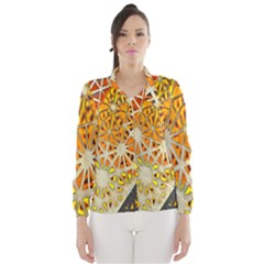 Abstract Starburst Background Wallpaper Of Metal Starburst Decoration With Orange And Yellow Back Wind Breaker (Women)