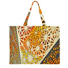 Abstract Starburst Background Wallpaper Of Metal Starburst Decoration With Orange And Yellow Back Large Tote Bag