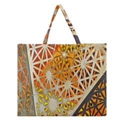 Abstract Starburst Background Wallpaper Of Metal Starburst Decoration With Orange And Yellow Back Zipper Large Tote Bag