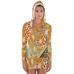 Abstract Starburst Background Wallpaper Of Metal Starburst Decoration With Orange And Yellow Back Women s Long Sleeve Hooded T-shirt