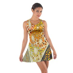 Abstract Starburst Background Wallpaper Of Metal Starburst Decoration With Orange And Yellow Back Cotton Racerback Dress