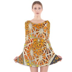 Abstract Starburst Background Wallpaper Of Metal Starburst Decoration With Orange And Yellow Back Long Sleeve Velvet Skater Dress