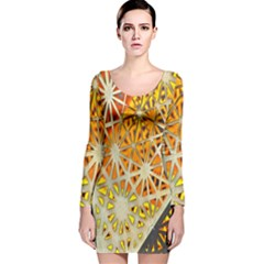 Abstract Starburst Background Wallpaper Of Metal Starburst Decoration With Orange And Yellow Back Long Sleeve Velvet Bodycon Dress