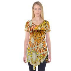 Abstract Starburst Background Wallpaper Of Metal Starburst Decoration With Orange And Yellow Back Short Sleeve Tunic