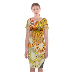 Abstract Starburst Background Wallpaper Of Metal Starburst Decoration With Orange And Yellow Back Classic Short Sleeve Midi Dress