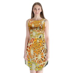 Abstract Starburst Background Wallpaper Of Metal Starburst Decoration With Orange And Yellow Back Sleeveless Chiffon Dress