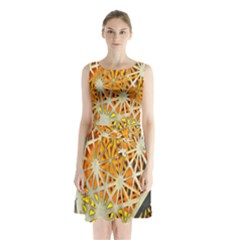 Abstract Starburst Background Wallpaper Of Metal Starburst Decoration With Orange And Yellow Back Sleeveless Chiffon Waist Tie Dress