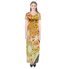 Abstract Starburst Background Wallpaper Of Metal Starburst Decoration With Orange And Yellow Back Short Sleeve Maxi Dress