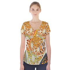 Abstract Starburst Background Wallpaper Of Metal Starburst Decoration With Orange And Yellow Back Short Sleeve Front Detail Top